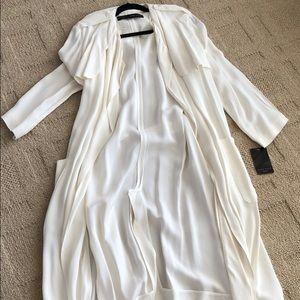Zara white duster trench jacket.